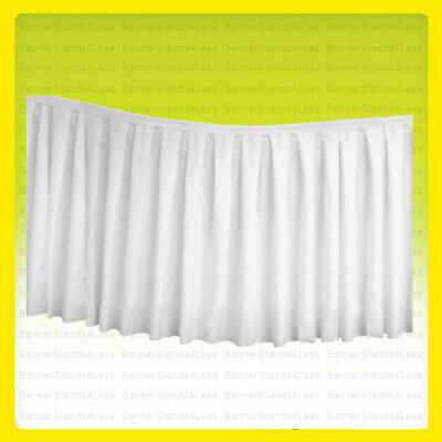 "(No Top) 17 ft x 29"" Polyester Banquet Table Skirt Wedding Party Linens WHITE"