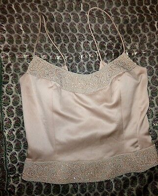 Vintage Shell Pink Beaded  Silk Corset Bustier Top UK 8