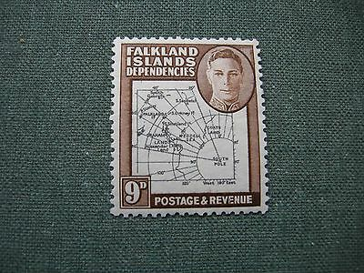 Falkland Islands Dependencies, 9d stamp brown Thick map KGVI very lightly MM