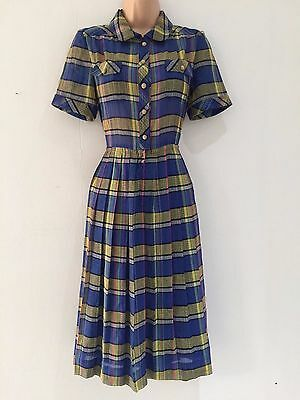 Japanese Vintage 80's Blue Yellow Pink Check Print Pleated Day Dress Size 10