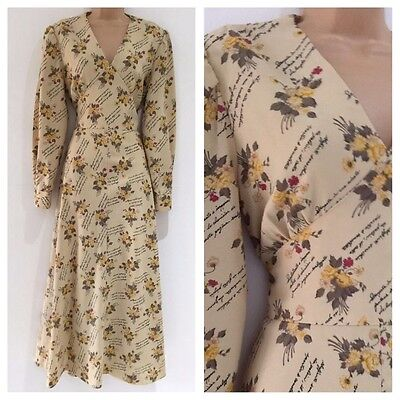 Vintage 70's Boho Cream Grey Yellow Floral & French Writing Maxi Dress Size 12