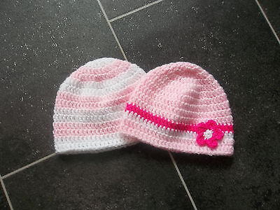 Baby Girl Hats X 2 Hand Crocheted / Knitted 0-3 Months Pink And White *new*