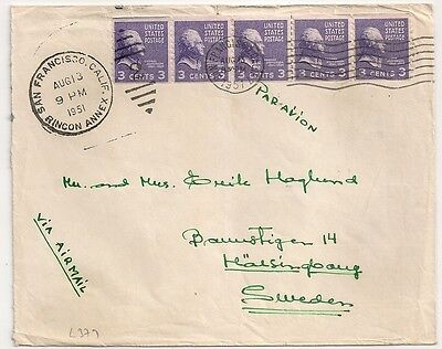 Cover  Usa United States To Sweden San Francisco Calif 1951. L379