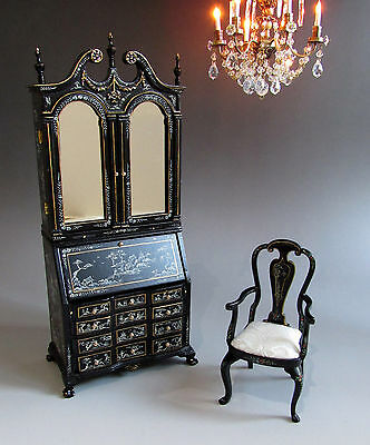 1:12th Scale ~ CHINOISERIE CHIPPENDALE SECRETAIRE & CHAIR SET~ for Dolls House