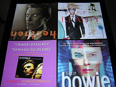 4 David Bowie Promotional 12X12 Cards - Heathen, Reality +2