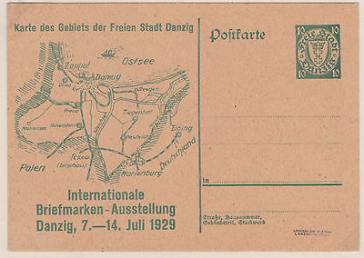 1929 Danzig Stamp Exhibition 10pf mint postal stationery postcard pictorial