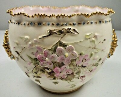 Magnificent Antique KTK Knowles Taylor Porcelain Lotus Ware Bird On Blossom Vase