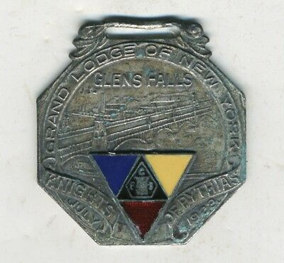 Antique Knights of Pythias Glens Falls NY Chapter Watch Fob Fraternal