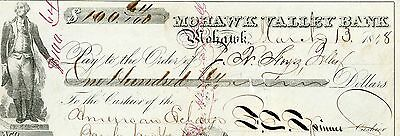 Signed Check Francis E. Spinner US Treasury Secretary Father of Fractional Curre