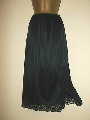 Vintage Charnos Thicker Black Nylon Deep Scalloped Lace Half Slip Underskirt S