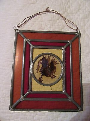 STAINED GLASS SQUARE (7 1/4 inches) MEDIEVAL PATTERN