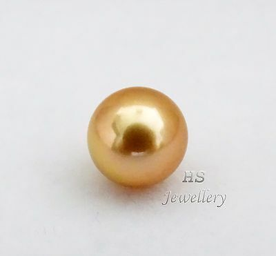 HS Rare Round Loose Golden South Sea Cultured Pearl 10.85mm Top Grading