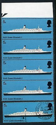 1969 Ships 5d positional varieties 2/5 and 4/5