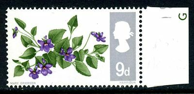1967 Flowers 9d phosphor positional variety 9/6