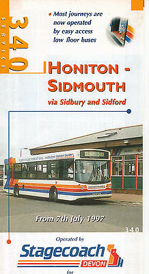 Stagecoach Devon Honiton-Sidmouth 340 July 1997 Bus Timetable Leaflet VGC