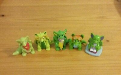 RUBBER POCKET DRAGONS x 5. CUDDLES, ZOOM ZOOM, GILBERT, SCRIBBLES & SPECS