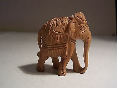 VINTAGE  WOODEN MINIATURE ELEPHANT  HAND CRAFTED only 1-3/4 x 2 inches