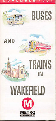 WAKEFIELD Bus Rail Map 1991 West Riding Yorkshire Traction Buses Rider VGC