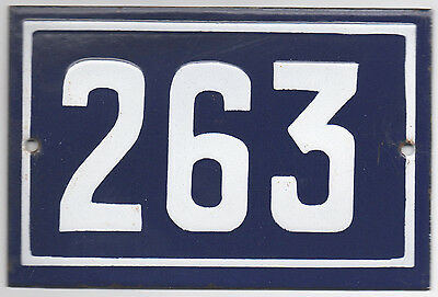 Old blue French house number 263 door gate plate plaque enamel metal sign steel
