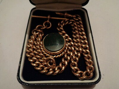 9ct gold pocket watch albert chain with bloodstone spinner fob