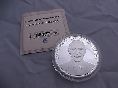 Proof Barack Obama Silver Plated Presidential Coin # 2009 Ltd Ed with COA