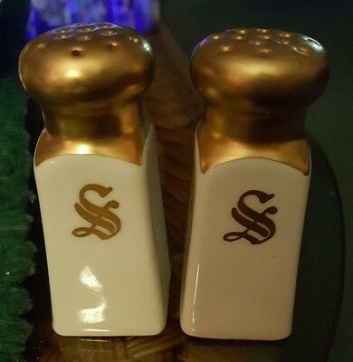 Beautiful vintage stouffer germany gold overlay salt and pepper shakers
