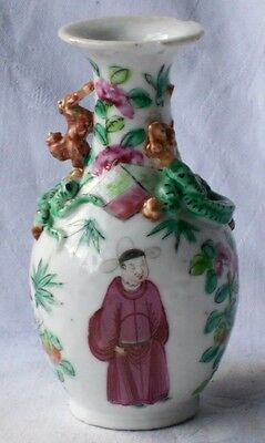 C19Th Chinese Famille Rose Vase With Applied Serpents And Important People