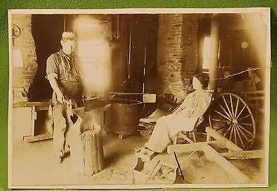 Antique Photograph Blacksmith at Work Watched by His Woman!