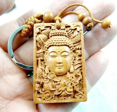 45*29MM   Hand-carved  Guanyin dragon Wooden Crafts, Key Chain, Key Ring