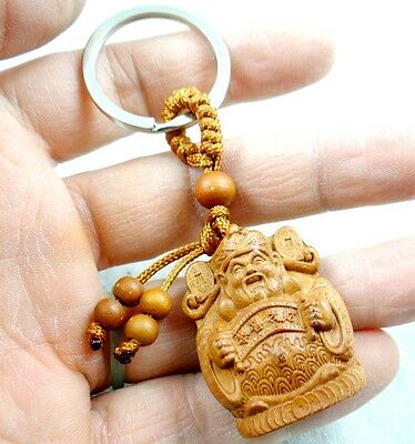 35*28 MM    Hand-carved  God of Wealth  Wooden Crafts, Key Chain, Key Ring