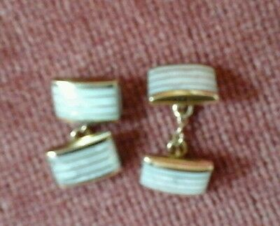 Mens true vintage cufflinks, gold plated with mother of pearl, chain centers