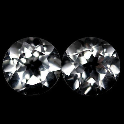 A PAIR OF 6mm ROUND-FACET PURE-WHITE NATURAL AFRICAN TOPAZ GEMSTONES £1 NR!