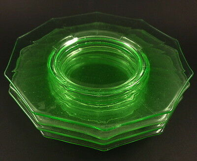 Cambridge Glass DECAGON Green Set 4 Luncheon Plates 8 1/2""
