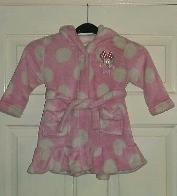 baby girls minnie mouse dressing gown 12/18 month good condition Disney store