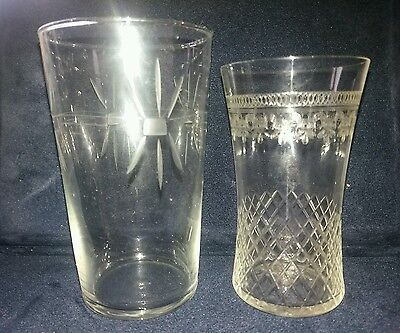 Two Victorian Etched Water Glasses/ Beakers Victorian Glass Antique cut glass