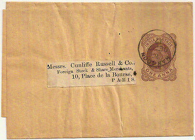 1897 RANGOON BURMA QV One Anna INDIA POSTAL STATIONERY WRAPPER- PARIS