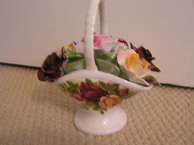 Royal Albert Old Country Roses Floral Basket Ornament - Exc Cond