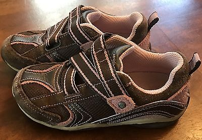 Stride Rite Macie Espresso Brown/Pink Shoes Sneakers Girls/Toddler 11W