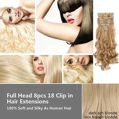 """27"""" Full Head 8pcs 18 Clips Clip in Hair Extensions As Real Human Long Curly"""