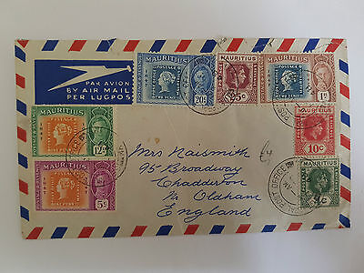Mauritius KGVI Multistamped cover to UK