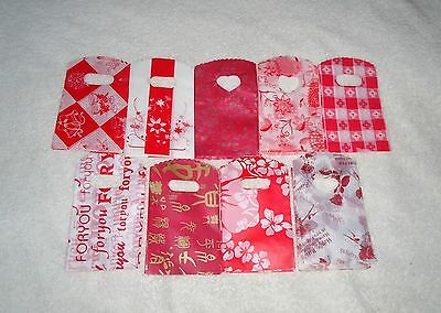 JOB LOT 50 RED SMALL PLASTIC GIFT JEWELLERY PARTY BAGS 15x9cm