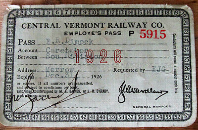 CVRy Central Vermont Railway 1926 Railroad Employee Pass Misspelling Employe's
