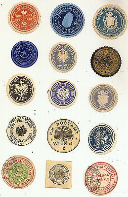 15x RARE INTERPOSTAL SEALS EGYPT/BEIRUT/AUSTRO-HUNGARY/GERMANY/DENMARK/PORTUGAL