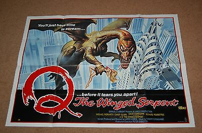 Q The Winged Serpent (1982) - Rare Original Uk Quad - Tom Chantrell - Horror
