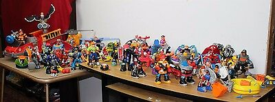 HUGE Lot Fisher Price Rescue Heroes 75+ Pieces 9 Vehicles 30 Figures 40 Other