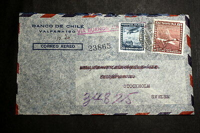 Chile 1946 cover to Sweden M-006