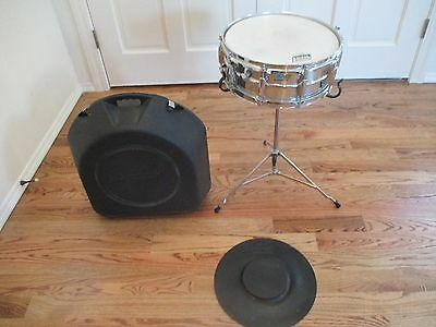 Vintage Ludwig Supra Phonic Snare Drum, Case, Stand & Practice Pad - Excellent!