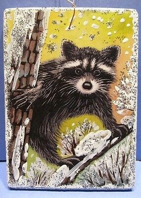 Ryta XMAS Glitter Ornament VTG CARD IMG WOOD WINTER RACCOON landscape folk art