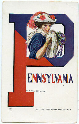 "College Girl Signed Christy ""Pennsylvania"" University 1907"
