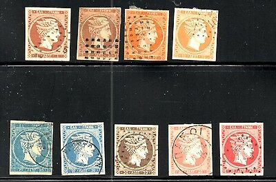 GREECE LARGE HERMES HEAD FORGERIES 9 Different to 80L. VF